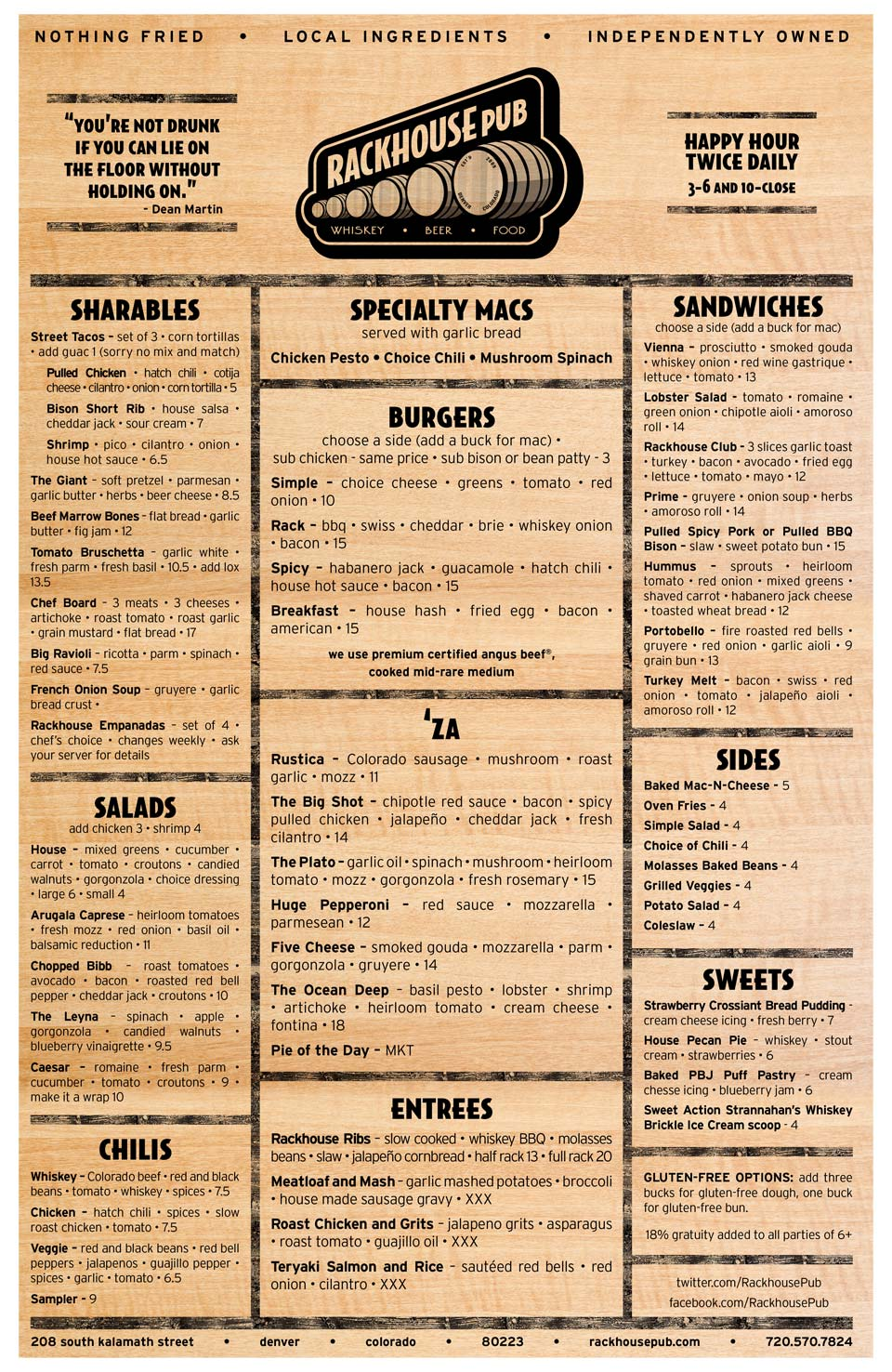 Wooden Food Menu